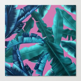 tropical banana leaves pattern pink Canvas Print