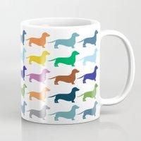 dachshund Mugs featuring Dachshund by Opul
