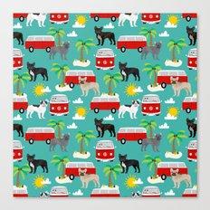 French Bulldogs beach mini bus surfing pet friendly dog breed pattern palm trees Canvas Print