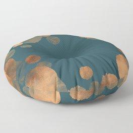 Metal Copper Dots on Emerald Floor Pillow