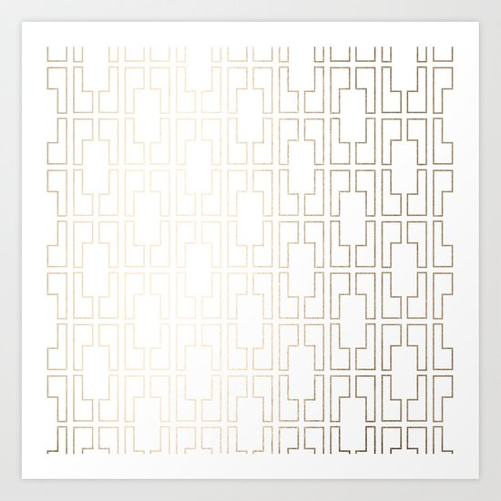 Simply Mid-Century in White Gold Sands Art Print