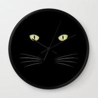 black cat Wall Clocks featuring black cat by ovisum