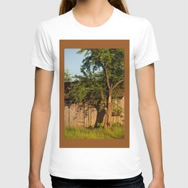 Dilapidated old wooden shack and tree shadow T-shirt