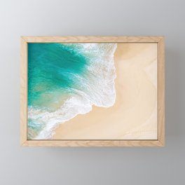 Sand Beach - Waves - Drone View Photography Framed Mini Art Print