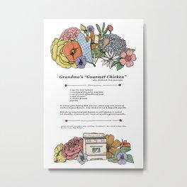 "Grandma's ""Gourmet Chicken"" Recipe Print Metal Print"
