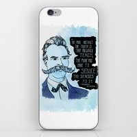 nietzsche iPhone & iPod Skins featuring Nietzsche and the Abstract Truth - Watercolor Version by Alexandra Ensign