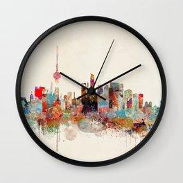 shanghai city skyline Wall Clock