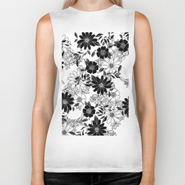 Modern black white hand drawn floral illustration Biker Tank