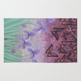 butterflies dance in purple skies above irises Rug