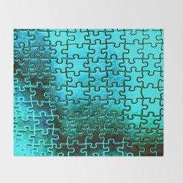 Blue puzzle design Throw Blanket