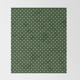 Small White Polka Dot Hearts on Dark Forest Green Throw Blanket
