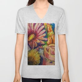 Floral Pastel Painting Unisex V-Neck