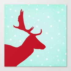Oh Deer (red & blue) Canvas Print