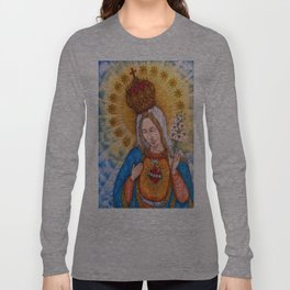 Immaculate Heart Of Virgin Mary Drawing Long Sleeve T-shirt