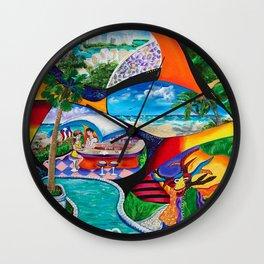 Isla del Encanto, Tainos, San Gerónimo, Condado, Puerto Rico painting-collage Wall Clock