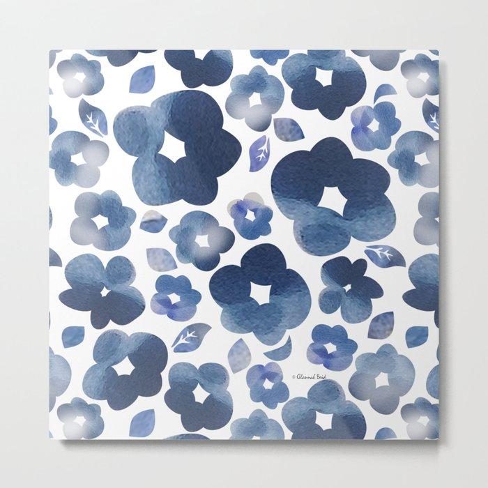 Blue Watercolour Flowers Metal Print