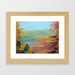 Wooded Cove at Twighlight Framed Art Print
