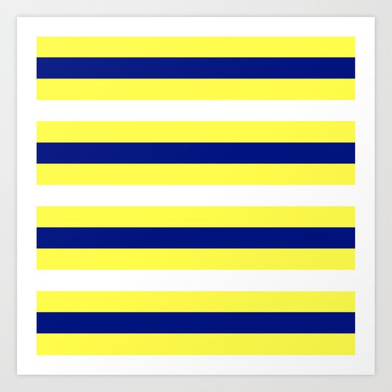 Nautical Stripe In Yellow White And Navy Art Print By