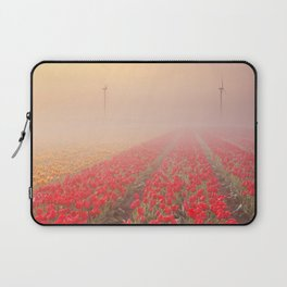 III - Sunrise and fog over rows of blooming tulips, The Netherlands Laptop Sleeve