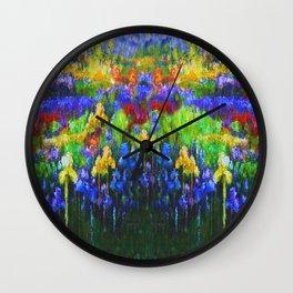 BLUE YELLOW IRIS GREEN GARDEN PAINTING Wall Clock