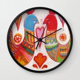 Folk Love Birds Wall Clock