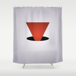 Entry Red - White and Black Abstract Art Shower Curtain
