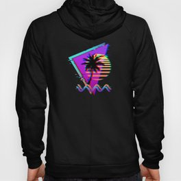 Vaporwave Palm Sunset 80s 90s Glitch Aesthetic Hoody