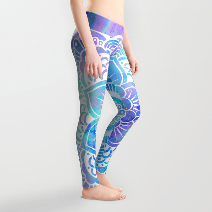 Mandala Pink Lavender Aqua Galaxy Space Leggings