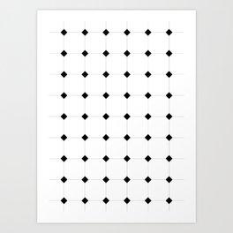 Black & White Diamond Geometric Pattern Art Print