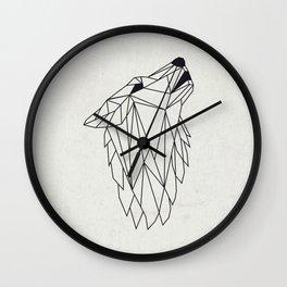 Geometric Howling Wild Wolf Wall Clock