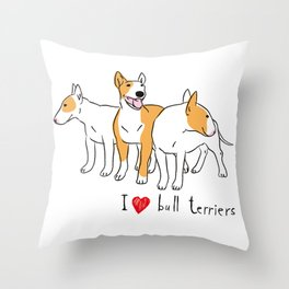 bull terriers Throw Pillow