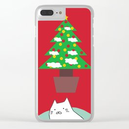 cat Christmas tree 15 Clear iPhone Case