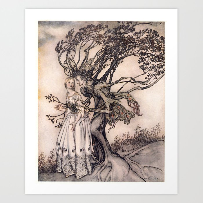 Art by Arthur Rackham from a rare 1917 edition of the Brothers Grimm fairy tales Art Print