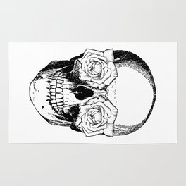 Skull and Roses | Black and White Rug
