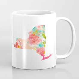 new york map floral state print nyc ny state Coffee Mug