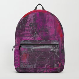 Passion Pink Purple Heart Mixed Media Art Backpack