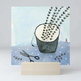Scissors and bucket Mini Art Print