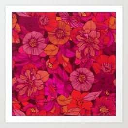 Hellebore lineart florals | red Art Print