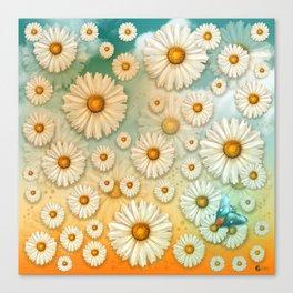 """Turquoise Moth &  Marguerites"" Canvas Print"