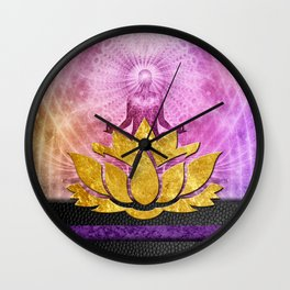Crown Chakra Meditation & Gold Metallic Lotus Wall Clock