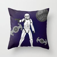 storm trooper Throw Pillows featuring storm trooper by Agentsassy