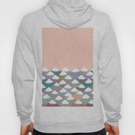Nature background with Mountain landscape. Gray, pink, blue navy mountain with snow-capped peaks. Hoody