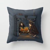 hallion Throw Pillows featuring The Witch in the Fireplace by Karen Hallion Illustrations