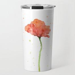 Poppy Flower Watercolor Travel Mug