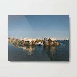 Floating Island on Lake Titicaca Metal Print