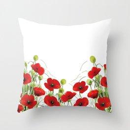 Poppy Mohn Flower Field Throw Pillow