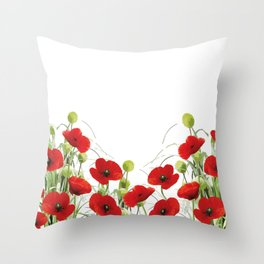 Poppies Flower Field red with background Throw Pillow