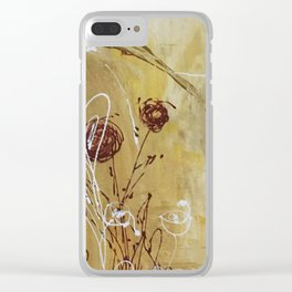 Yellow Tan Spring Abstract Flowers. Jodilynpaintings. Abstract Floral Clear iPhone Case