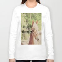 scripture Long Sleeve T-shirts featuring Job 39: 19 Horse Scripture by KimberosePhotography