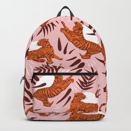 Vibrant Wilderness / Tigers on Pink Backpack